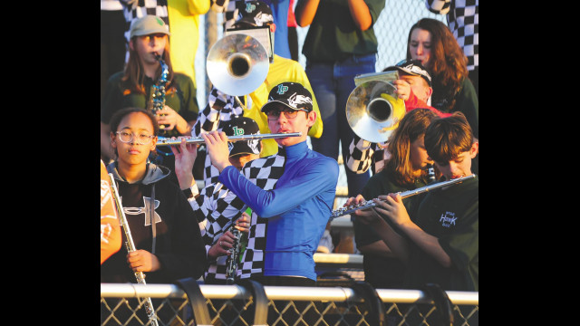 Hawk Band plays school song